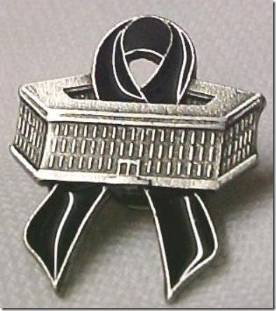 Pentagon Black Ribbon Pin