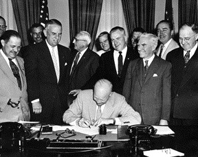 Eisenhower signs Vets Day resolution