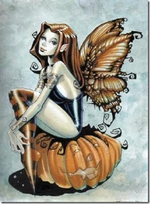 Fairy on pumpkin